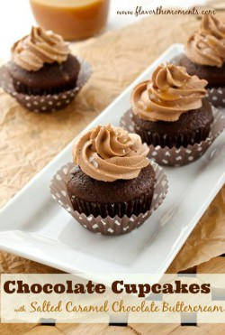 Chocolate Cupcakes with Salted Caramel Chocolate Buttercream and Salted Caramel Drizzle Recipe