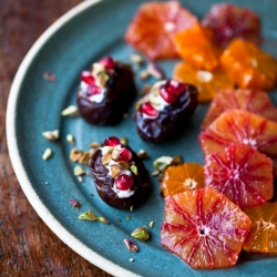 Dates with Mascarpone Pomegranate and Pistachios and Blood Orange