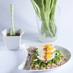 Eggs on a Simple Romano Bean Salad