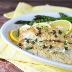 Fish Piccata with Roasted Asparagus Recipe