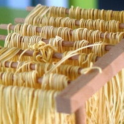Freshly-Extruded Pasta Dries