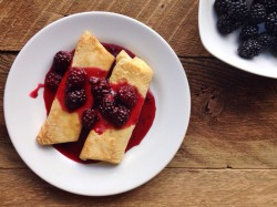 Goat Cheese Blintzes with Blackberry Sauce Recipe
