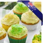Green and Gold Marble Cupcakes