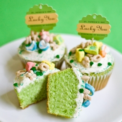 Green Cupcakes with Lucky Charms Recipe