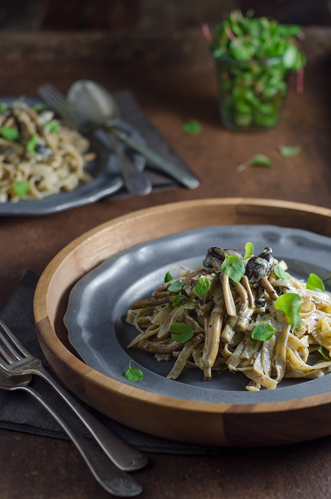 Hazelnut Pasta with Creamy Mushrooms Recipe