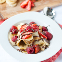 Ice Cream and Nutella Crepes with Berries and Bananas Recipe