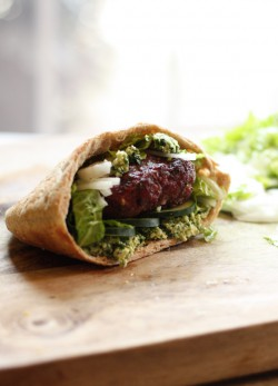 Lamb Burger with Parsley Feta Pesto