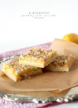 Lemon Birthday Cake Crumble Bars Recipe