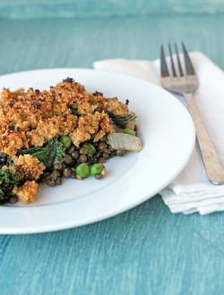 Lentil and greens casserole