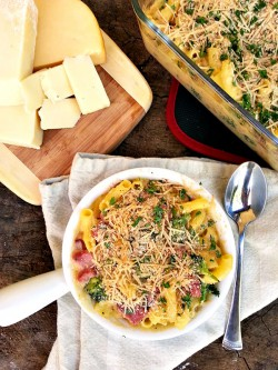 Mac and Cheese with Ham Broccoli and Mushrooms Recipe
