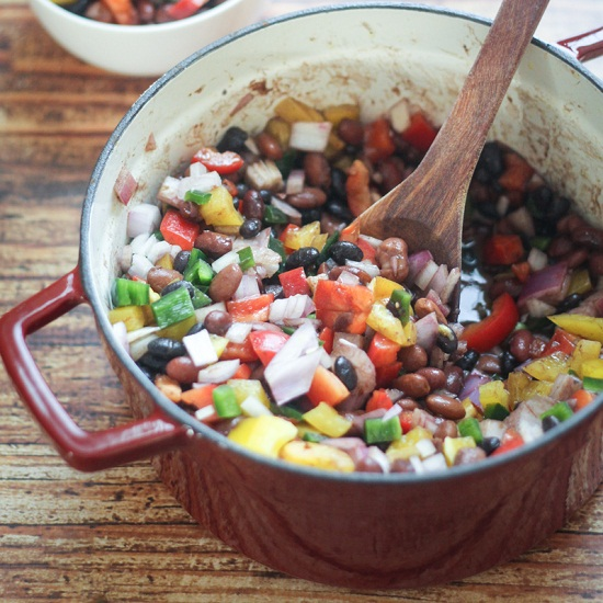 Mexican Three Beans and Peppers Salad Recipe