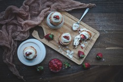 Mini Angel Food Cakes with Strawberry Compote Strawberries and Whipped Vanilla Creme Fraiche Recipe
