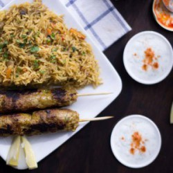 Moroccan Chicken Kebabs with Rice