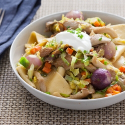 Mushrooms Stroganoff with Brussels Sprouts and Egg Pappardelle Recipe