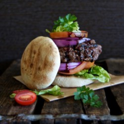 Ostrich Burger with Corn Bread