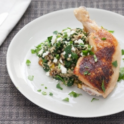 Pan Seared Chicken with Dried Cherry and Pistachio Quinoa Recipe