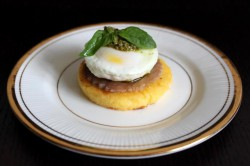 Polenta Round with Smoked Tuna and a Poached Egg