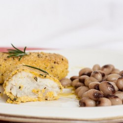 Polenta-Crusted Cod with rosemary