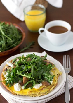 Portobello Goat Cheese and Arugula Frittata Recipe