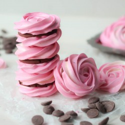 Raspberry Meringue Sandwiches with Whipped Dark Chocolate Ganache Recipe