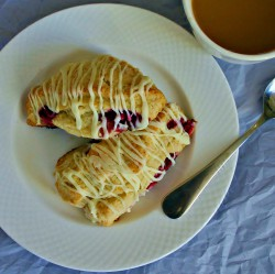 Raspberry Scones with White Chocolate Drizzle Recipe
