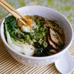 Red Miso Udon with Egg BBQ Pork and Bok Choy Recipe