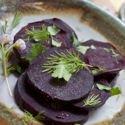 Roasted Beets with Herbs and Sour Cream Recipe