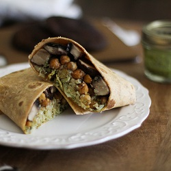 Roasted Portabella and Chickpea Burritos with Chimichurri and Cauliflower Rice Recipe