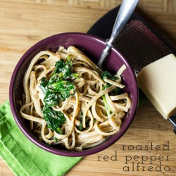 Roasted Red Pepper Alfredo with Spinach