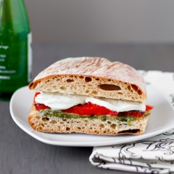 Roasted Red Pepper and Mozzarella Sandwich with Arugula Pesto Recipe