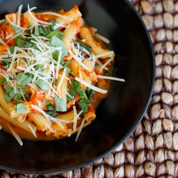 Roasted Red Pepper Pasta with Artichokes Recipe