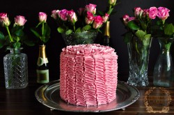 Ruffled Champagne Layer Cake with Strawberry and White Chocolate Buttercream Recipe