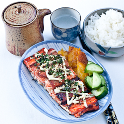 Salmon with Wasabi Mayo