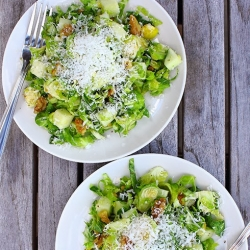 Shaved Brussels Sprout Salad with Apples Walnuts and Pecorino Recipe