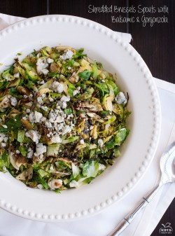 Shredded Brussels Spouts with Balsamic and Gorgonzola Recipe