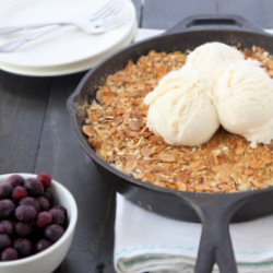 Skillet Blueberry Crisp with Oat Topping