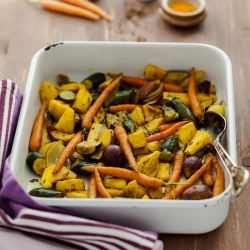 Slow Roasted Turmeric Vegetables with Moghrabieh Pilaf Recipe
