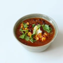 Smoky Black Bean and Roasted Tomato Soup with Corn and Salsa Recipe