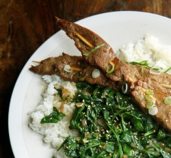 Soy Steak Skewers Ginger Spinach
