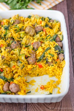 Spinach and Italian Sausage Orzo