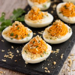 Sriracha Deviled Eggs w/ Toast Top