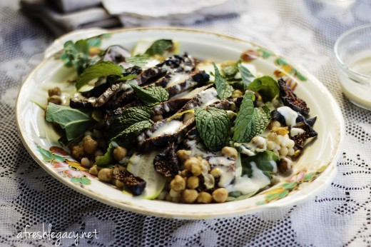 Steak and Couscous Salad with Spinach Chickpeas, Figs and Hummus Dressing Recipe
