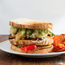 Tempeh Reuban Club Sandwich