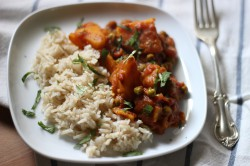 Tomato Curry with Golden Potatoes and English Peas Recipe