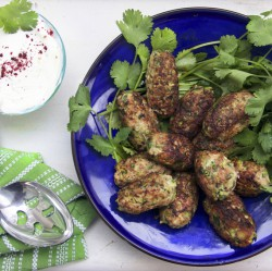Turkey Zucchini Meatballs with Lemon Yogurt Sauce Recipe