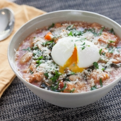 Tuscan Ribollita Soup with Soft-Boiled Farm Eggs