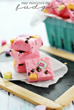 Valentines Day Chocolate Chip Candy Hearts Fudge Recipe