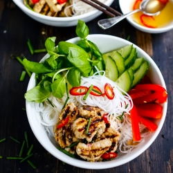 Vietnamese Vermicelli Bowl with Lemongrass Chicken and Vegetables Recipe