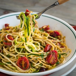 Zucchini Noodles with Pasta and Roasted Tomatoes Recipe