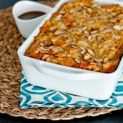 Apple and Almond Bread Pudding with Salted Bourbon Caramel Sauce Recipe